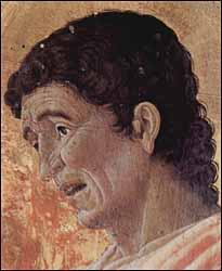 Andrea Mantegna, St. John the Evangelist, detail of the St. Lucas altarpiece (1453), tempera on panel, Pinacoteca di Brera, Milan