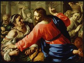 Bernardino Mei, Christ Cleansing the Temple (c. 1655), oil on canvas, 41x 55.5in, J. Paul Getty Museum, Los Angeles.