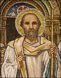 Eduard Burne-Jones, detail of Apostle Paul (1881-1898), mosaic, the Apse of St Paul's within the Walls (American Episcopal Church), Rome