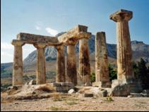 The church is the sacred temple of God, Paul tells the Corinthians. Pictured here are the ruins of the Temple of Apollo in Corinth with the Acroacropolis in the background. Photo by Alun Salt, used by permission under the Creative Commons Attribution-ShareAlike 2.0 Generic License.