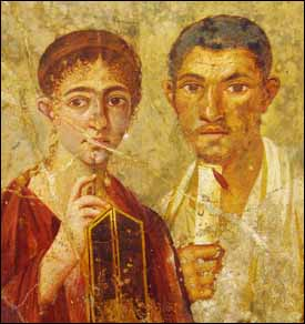 erentius Neo, the baker, and his wife, from the atrium of a house in Pompeii (AD 55-79 AD), fresco on plaster, 58x52 cm. Museo Archeologico Nazionale, Naples, Italy.