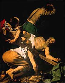 Peter knew what it meant to suffer with a clear conscience. 'The Crucifixion of St. Peter' (1600-1601) is portrayed by Italian painter Michelangelo Merisi da Caravaggio (1573-1610) with dramatic lighting, oil on canvas, 2300mm x 1750mm, Cerasi Chapel, Santa Maria del Popolo, Rome.
