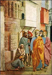 'St Peter Healing the Sick with his Shadow,' by Masaccio (1401-1427?), the first great painter of the Italian Renaissance. This is part of a series in fresco for the Brancacci Chapel in Santa Maria del Carmine, Florence (about 1427). It depicts an event in Peter's life described in Acts 5:15.