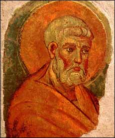 St. Peter, fresco fragments, Rome, second half of the 13th century, 39 x 27.6 cm.