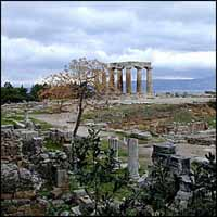 Temple of Apollo and ruins in Corinth. Source: BiblePlaces.com