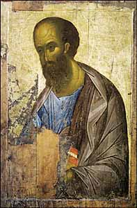 Andrei Rublev, Apostle Paul (1420s), tempera on wood, 160 x 109 cm, The Tretyakov Gallery, Moscow