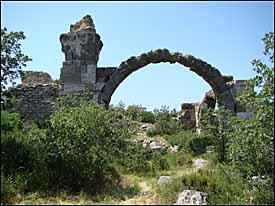 The remains of several ancient vaulted chambers at the Baths of Herodes Atticus, near Troas.