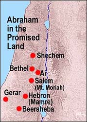 Abraham in the Promised Land -- Map