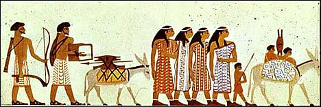 Beni-Hasan tomb painting of semite nomads visiting Egypt