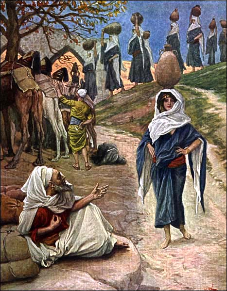 James Tissot Abrahamu0027s Servant Meets Rebecca   & 11. Death of Sarah and Abraham (Genesis 22:20 - 25:1-11)