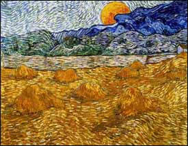 Vincent Van Gogh, ' Landscape with Wheat Sheaves and Rising Moon' (1889), oil on canvas, 28 x 36 in,  Kr�ller-M�ller Museum, Otterlo, Netherlands.