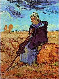 Vincent Van Gogh, 'The Shepherdess (after Millet)' (1889), oil on canvas, 52 x 40 cm, Tel Aviv Museum, loaned by Moshe Mayer, Geneva.