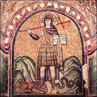 """Christus Victor"" (late fifth or early sixth-century), mosaic, Chapel of the Archbishop, Ravenna."