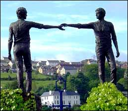 'Reconciliation - Hands Across the Divide' (1992), Carlisle Square, Derry, Londonderry, UK. Maurice Harron (sculptor), bronze.