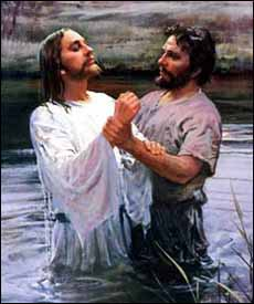 Detail of Harry Anderson (American illustrator, 1906-1996), 'John Baptizing Jesus.' © Image copyrighted.