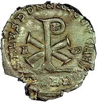AE2 bronze coin issued by Magnentius in 353 AD.