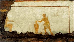 Painting of baptism found in the catacombs of St. Callixtus.