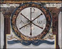 Chi-Rho in a wall painting in 4th century Roman villa, Lullingstone, Kent