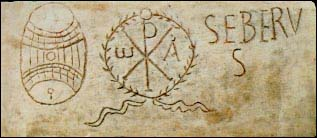 Chi-Rho symbol from catacombs