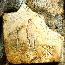 Early christian symbols in the catacombs for Christian fish meaning