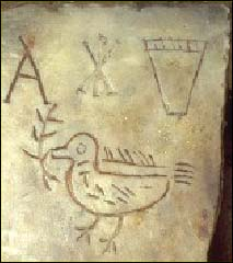 Dove with olive branch in mouth, plus Chi-Rho