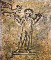 Person in prayer (orantes) and a dove with an olive branch in its mouth.