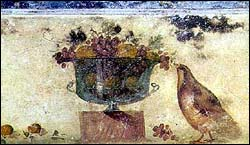 Fruit bowl and partridge? in a columbarium of the catacomb of St. Sebastian, 3rd centruy