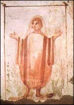 Praying Christian (orantes) from a catacomb painting