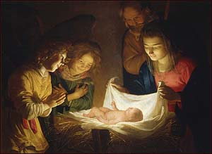 Gerard (Gerrit) van Honthorst (1590-1656), 'Adoration of the Children� (1620), Uffizi Gallery, Florence, Italy.
