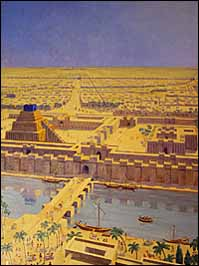 Maurice Bardin (1936), 'View of the City of Babylon' (1936), in the period of Nebuchadnezzar II (604-562 BC), with the Euphrates, Esagila (left), and the Marduk temple (right) in the foreground. following Eckhard Unger's reconstruction. Oil on canvas, 4' x 3', Oriental Institute, University of Chicago.