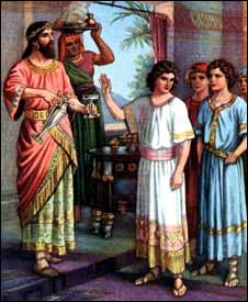 Daniel Refuses the King's Provisions, artist unknown, early 20th century illustration.