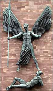 Jacob Epstein, 'St. Michael Defeats the Devil' (1959), statue, east wall, Coventry Cathedral, England.