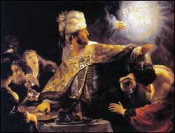 Rembrandt, 'Belshazzar's Feast' (1635), oil on canvas, 66 x 82 in, National Gallery, London.