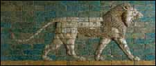 Striding Lion (604--562 BC), glazed brick from the reign of Nebuchadnezzar II, excavated at wall of Processional Way, Babylon. Metropolitan Museum of Art, New York.