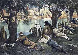 James J. Tissot, 'By the Waters of Babylon' (1896-1903), The Jewish Museum, New York. Notice the instruments hanging from the trees. Tissot illustrates Psalm 137:1-2: 'By the rivers of Babylon we sat and wept when we remembered Zion. There on the poplars we hung our harps....'