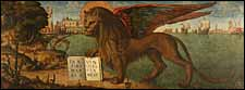 Vittore_Carpaccio, 'The Lion of St. Mark' (1516), tempera on canvas, 130 x 368 cm, Palazzo Ducale, Venice. A winged lion is the symbol of St. Mark the Evangelist.