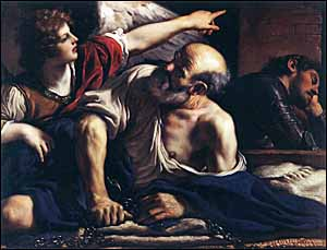 Guercino, 'The Liberation of St. Peter' (c. 1622), oil on canvas, 105 x 136 cm, Museo del Prado, Madrid.