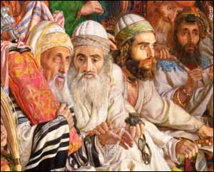 The Apostles are called to account before the Sanhedrin. This is a detail from a painting by William Holman Hunt, 'The Finding of the Savior in the Temple' (1860)