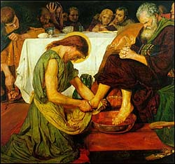 Ford Madox Brown (British Pre-Raphaelite painter, (1821-93), 'Jesus Washing Peter's Feet' (1852-56), oil on canvas, 1167 x 133 mm, Tate Gallery, London.
