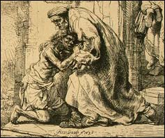 Rembrandt, Return of the Prodigal (1636, etching)