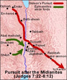 Map of Gideon's pursuit of the fleeing Midianite army.
