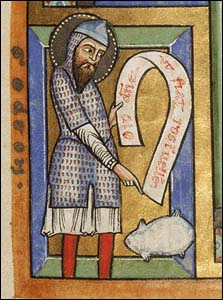 Gideon pointing to the fleece. Illustrated manuscript, German, Hildesheim, about 1170s, Tempera colors, gold leaf, silver leaf, and ink on parchment, 11 1/8 x 7 7/16 in., MS. 64, FOL. 92. Getty Museum.