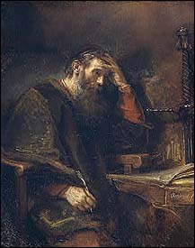 Rembrandt, The Apostle Paul praying and writing (1657)