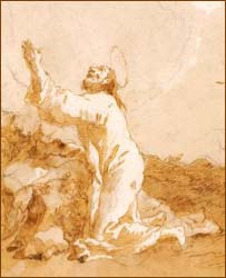 Domenico Tiepolo, detail of Jesus in the Garden of Gethsemane: The Second Prayer (c. 1786-1790)