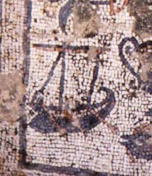 Boat mosaic now on display at Capernaum.