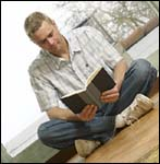 Bible study, a man reading his Bible