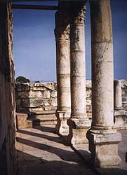 A view of pillars along the north side of the Synagogue at Capernaum, built in the Third or Fourth Century AD.