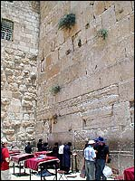 The Western Wall or Wailing Wall, all that is left of Herod's Temple