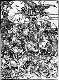 Albrecht Dü rer, 'Four Horsemen of the Apocalypse' (1498), woodcut.