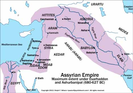 The Assyrian Empire at its largest extent.